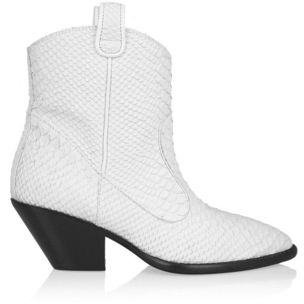 Snake-effect Leather Ankle Boots ($430