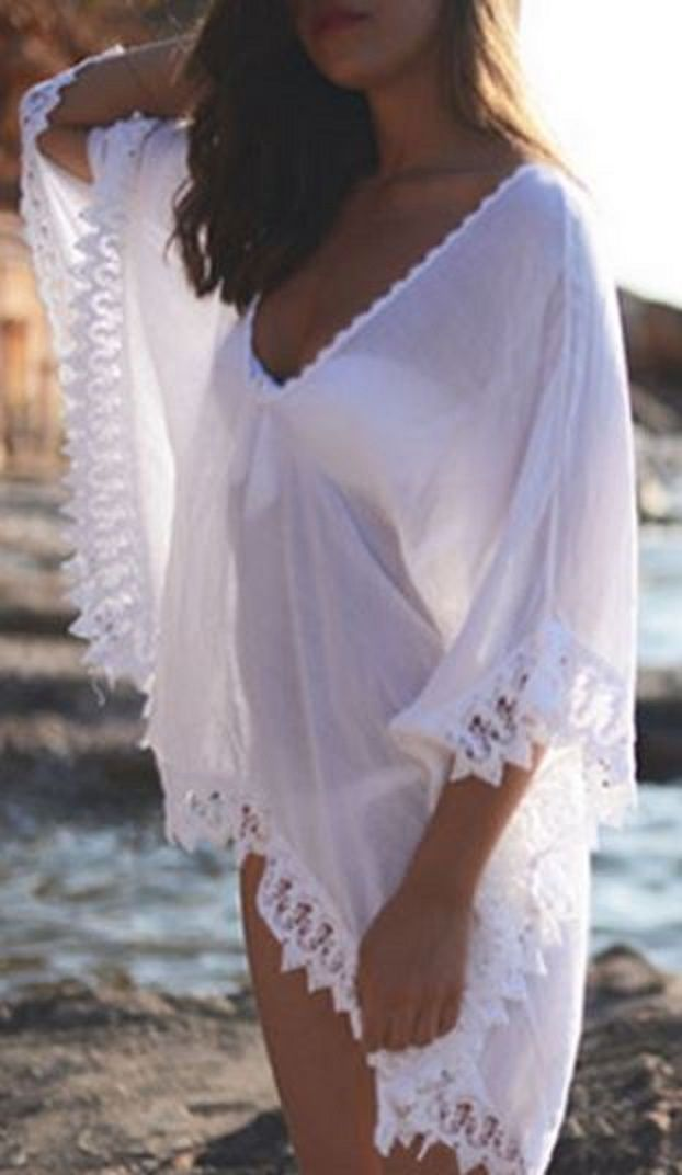 6609123612b28 Love the Lace! Sheer White See-Through Lace Edging Half Sleeve Beach Cover- Up
