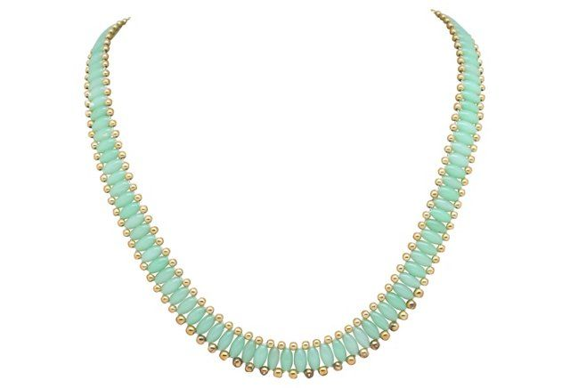 Faux-Jade Beaded Necklace