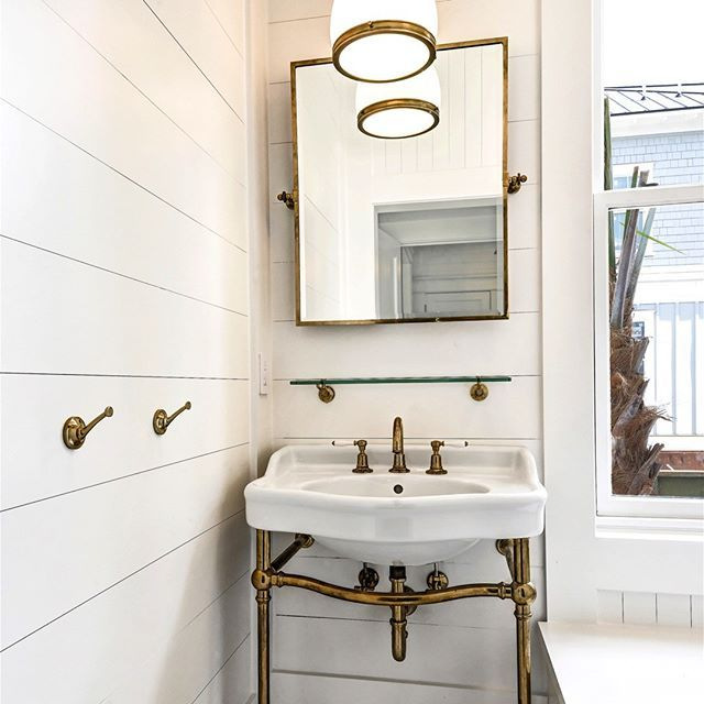Powder Room Shiplap Walls And Ceiling Marble Mosaic Floors Unlacquered Brass Waterworks Fixtures Brass Bathroom Brass Bathroom Fixtures White Vessel Sink
