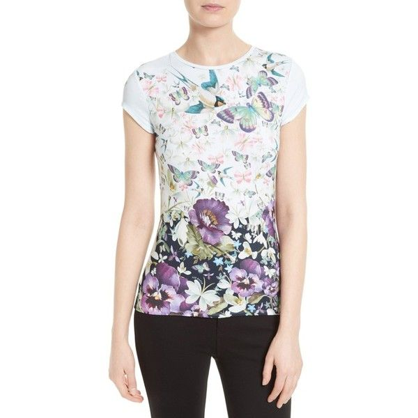 65b8e3d4 Women's Ted Baker London Jensen Floral Print Tee ($79) ❤ liked on Polyvore  featuring tops, t-shirts, dark blue, white tee, slim fit white t shirt,  floral ...