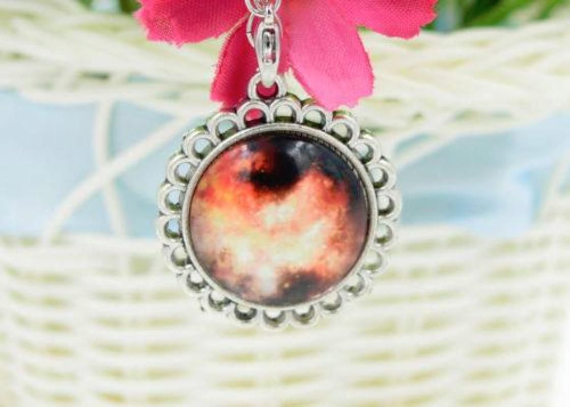 For Sale: #9 Colorful Galaxy and Planet Glass round Pendant silver plating Necklace - #9 Colorful Galaxy and Planet Glass round Pendant silver plating Necklace. New in pkg. 4.00 (cross posted)