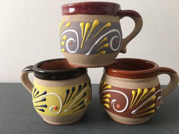 Folk By Annmariefamilytree Art Of 3 Mexican Mugs Clay Set 8vnNwm0