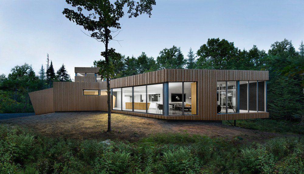 Atypique maison bois contemporaine au Lac Grenier, Canada