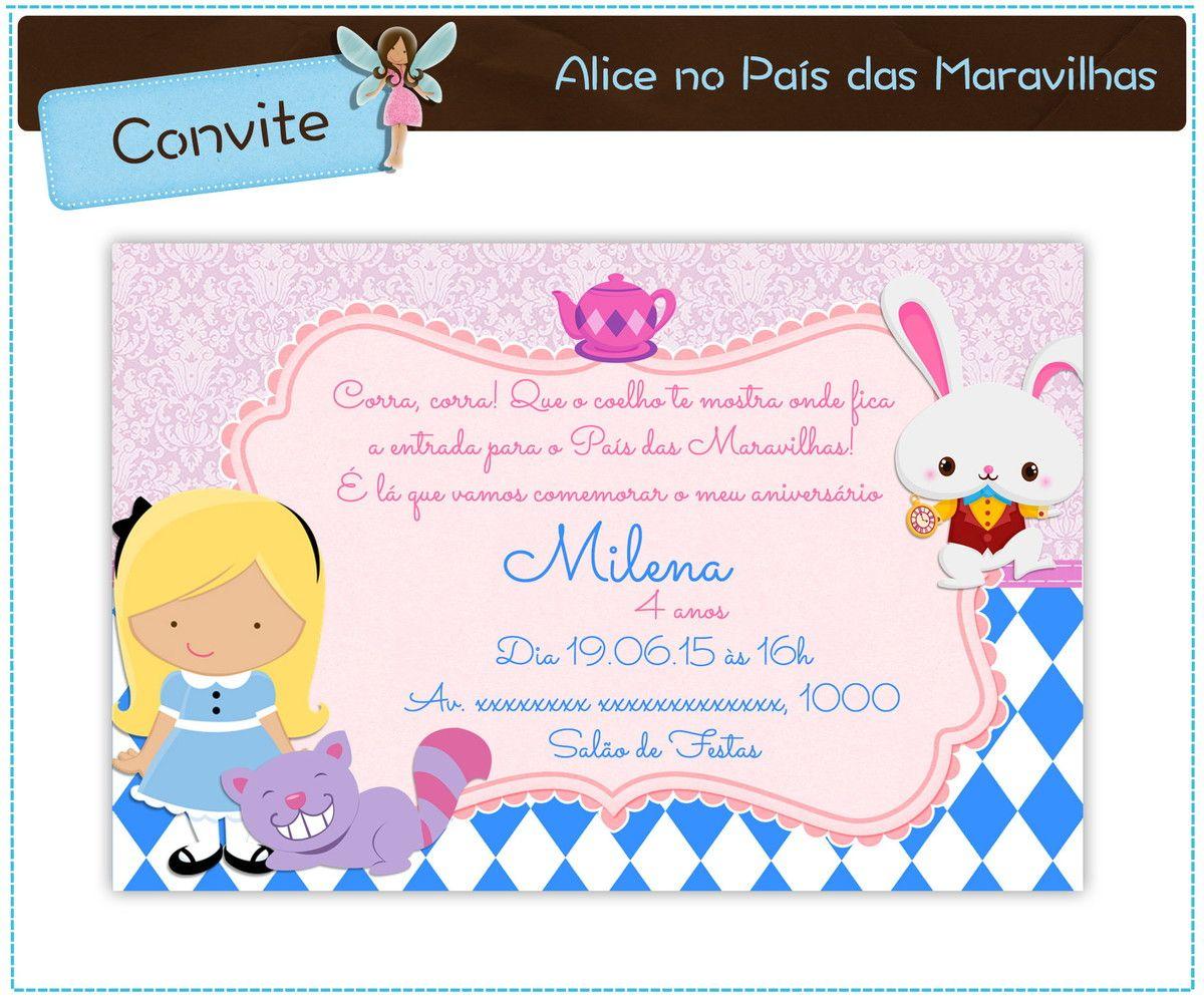 Convite Alice No Pais Das Maravilhas Digital Em 2020 Alice No