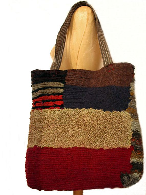 nuno felt brown red green tote bag by gaiagirard
