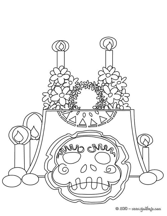 Dibujos Para Colorear Dia De Muertos Altar Con Calavera Del Dia De Los Muertos Para Imprimir Paginas Para Colorear Dia De Los Muertos Dia De Muertos