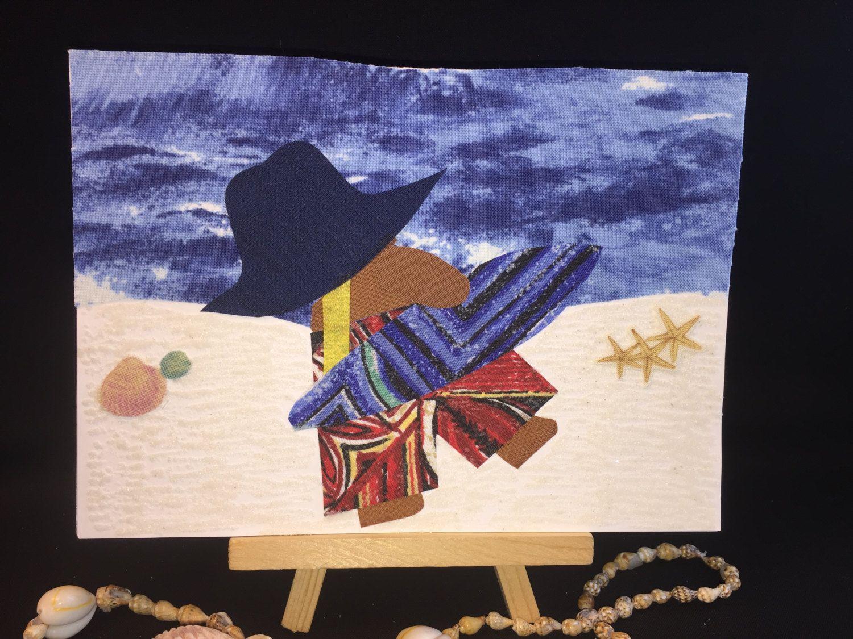 Ooak beach card handmade recycled fabric greeting cards surfer ooak beach card handmade recycled fabric greeting cards surfer card tropical birthday card kristyandbryce Gallery