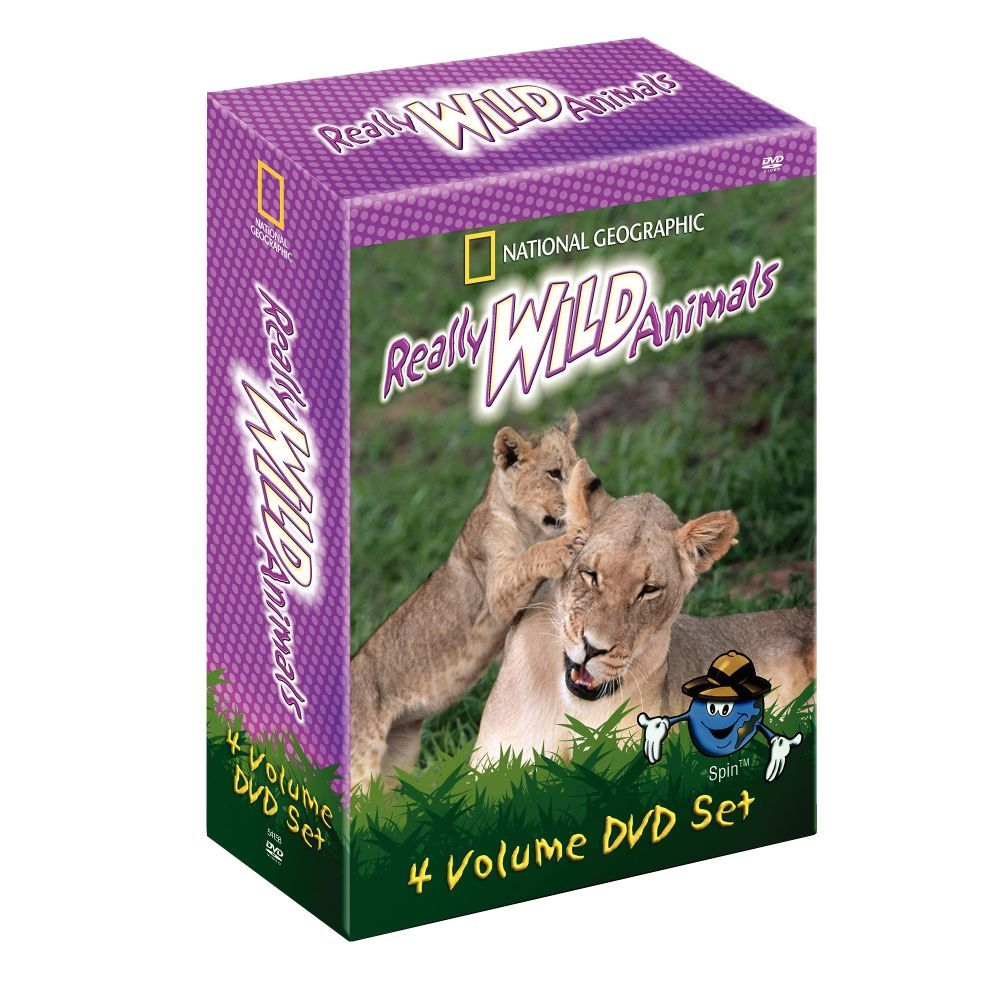 """Really Wild Animals"" 4 DVD Set: Swinging Safari, Dinosaurs and Other Creature Features, Totally Tropical Rain Forest, Deep Sea Dive (National Geographic Video)"