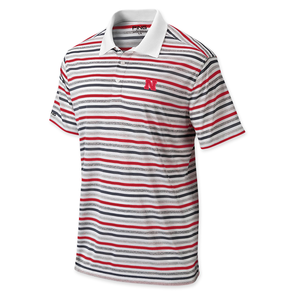 Nebraska Performance Golf Polo by Ping - Striped - SS