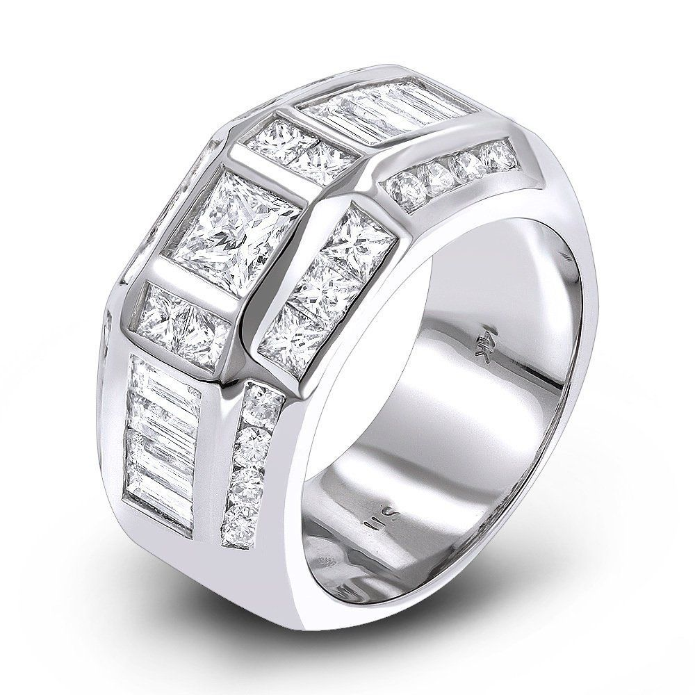 14K Gold Mens Diamond Ring 3.53ct (With images) Princess