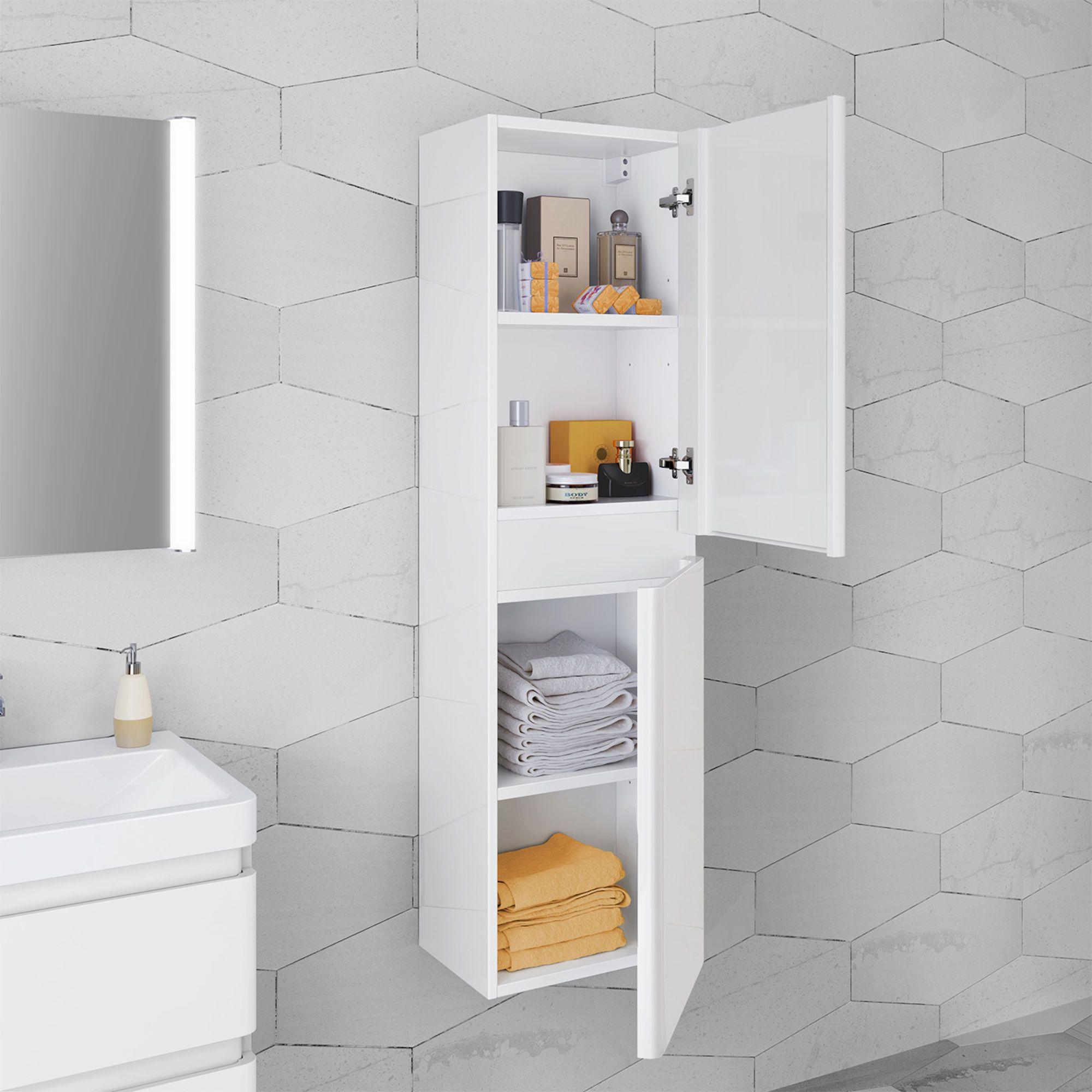 1400mm Denver Ii Gloss White Tall Storage Cabinet Wall Hung Diseno De Interiores De Bano Banos Interiores Decoracion De Interiores [ 2000 x 2000 Pixel ]
