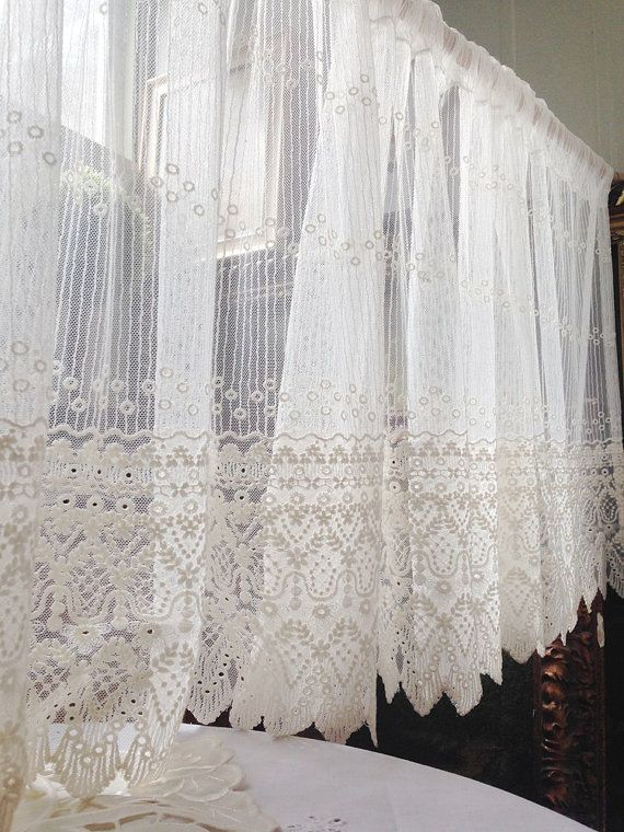 Off White Embroidery Lace Valance Cafe Curtain One Panel Etsy In 2021 Shabby Chic Lace Curtains Cafe Curtains Lace Curtain Panels