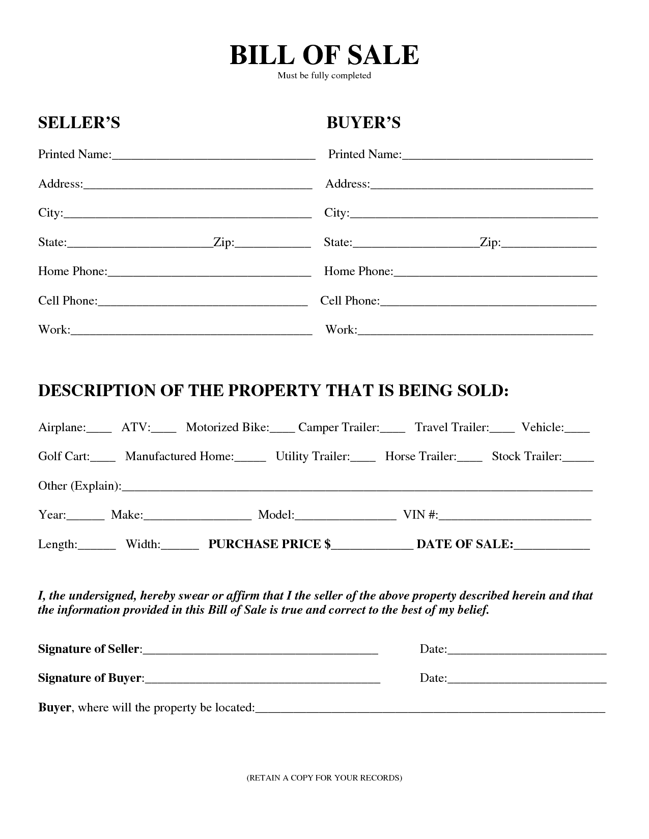 Printable sample equipment bill of sale template form for Tennessee motor vehicle bill of sale