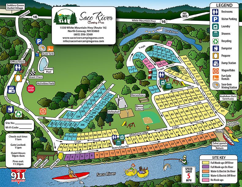 Saco River Campground Map Right In The Middle Of North Conway Rates