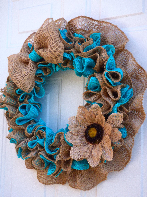 Photo of Spring Wreaths for Front Door / Summer Burlap Wreath / Spring Burlap Wreath / Farmhouse Door Wreath / Front Porch Wreath / Blue Burlap Wreath
