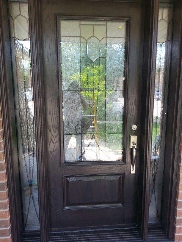 Dark Walnut Stain Fiberglass Door Fiberglass Door Exterior Remodel Dark Walnut Stain