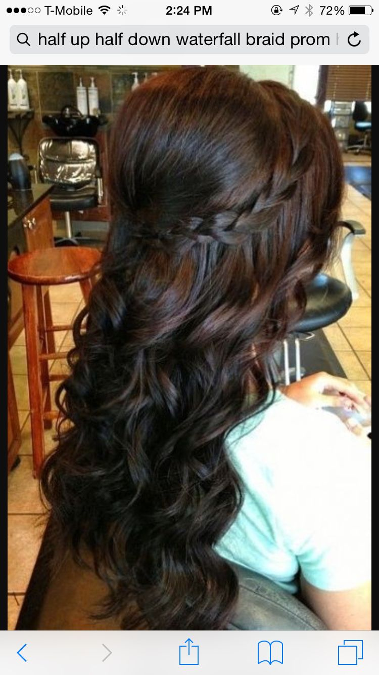 Water fall half up half down hair for formal events wedding