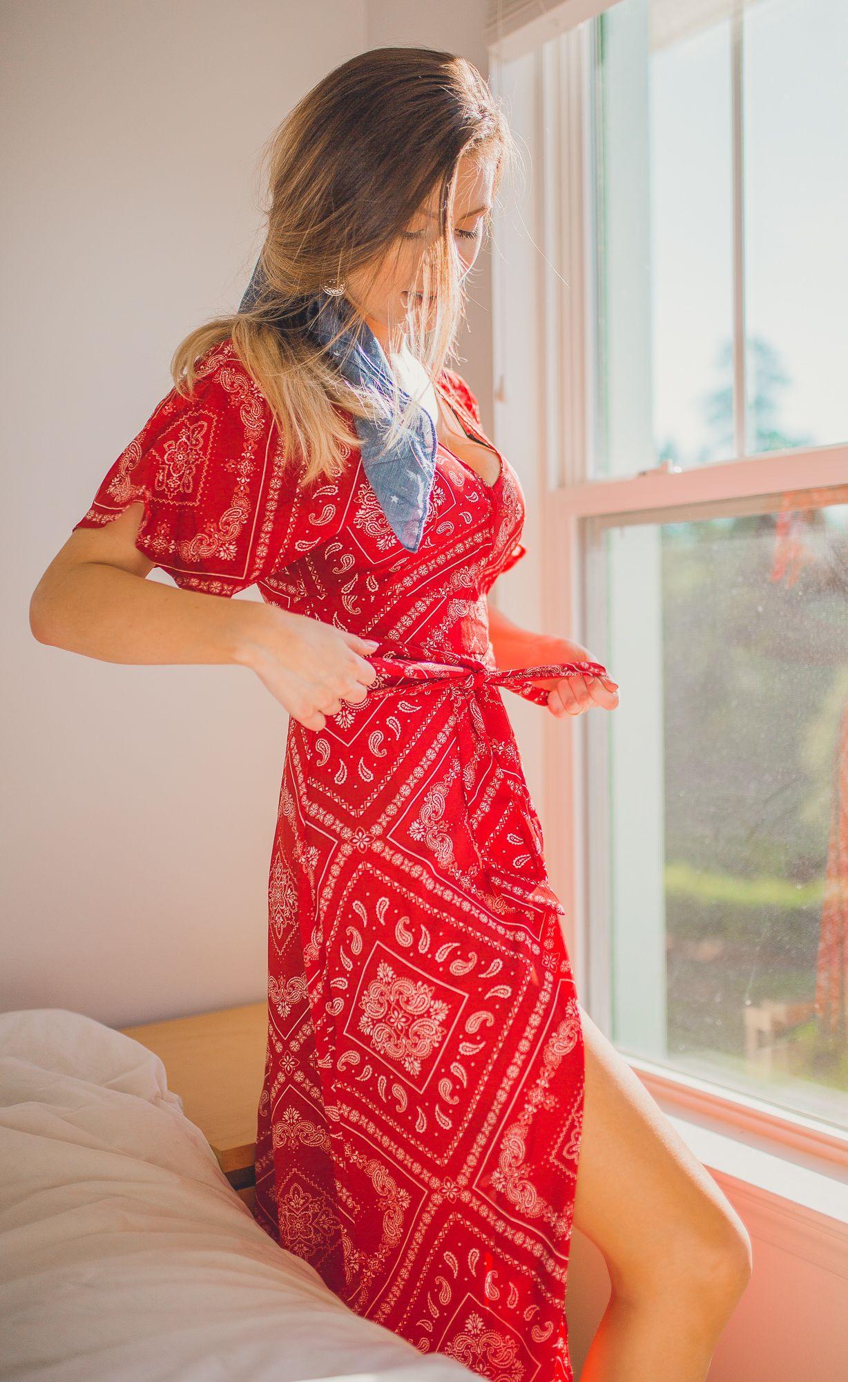Red Bandana Dress Boho Chic Style Bandana Dress Bandana Print Dress Red Dress Maxi [ 2000 x 1228 Pixel ]