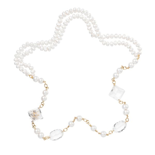 Double sided Necklace: Clear Quartz with Yellow gold and Fresh Water Pearls