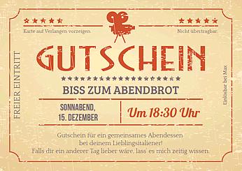 Druckvorlage Gutschein Kinoticket Retro bei Wunschblatt selber