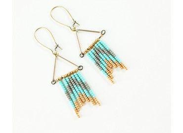 Turquoise Chevron Flag Earrings