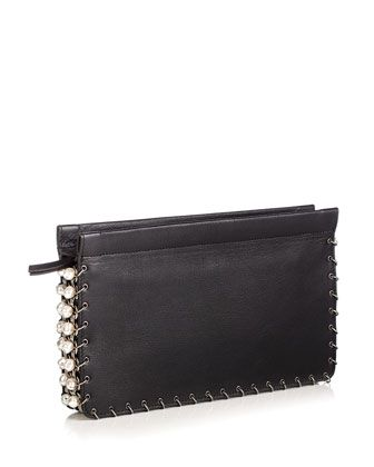 Lenox Pearly Leather Clutch Bag, Black by Dannijo at Neiman Marcus.