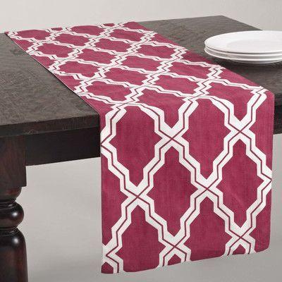 Saro Yasmina Moroccan Design Table Runner Color: Raspberry