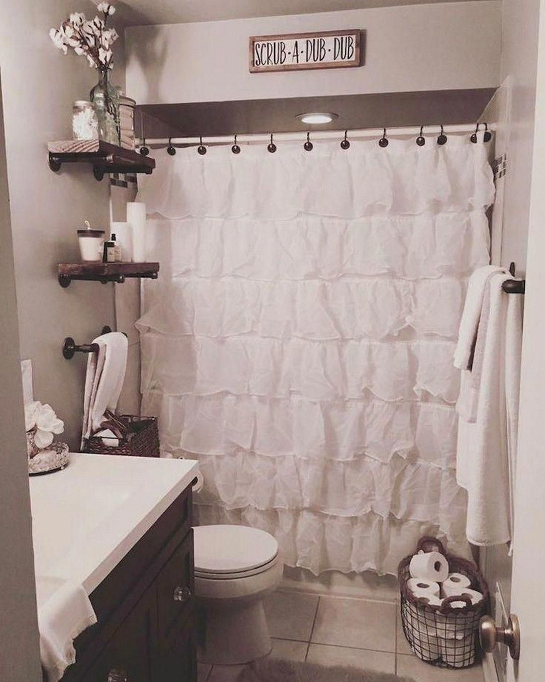 Best Farmhouse Bathroom Ideas White Ruffle Shower Curtain