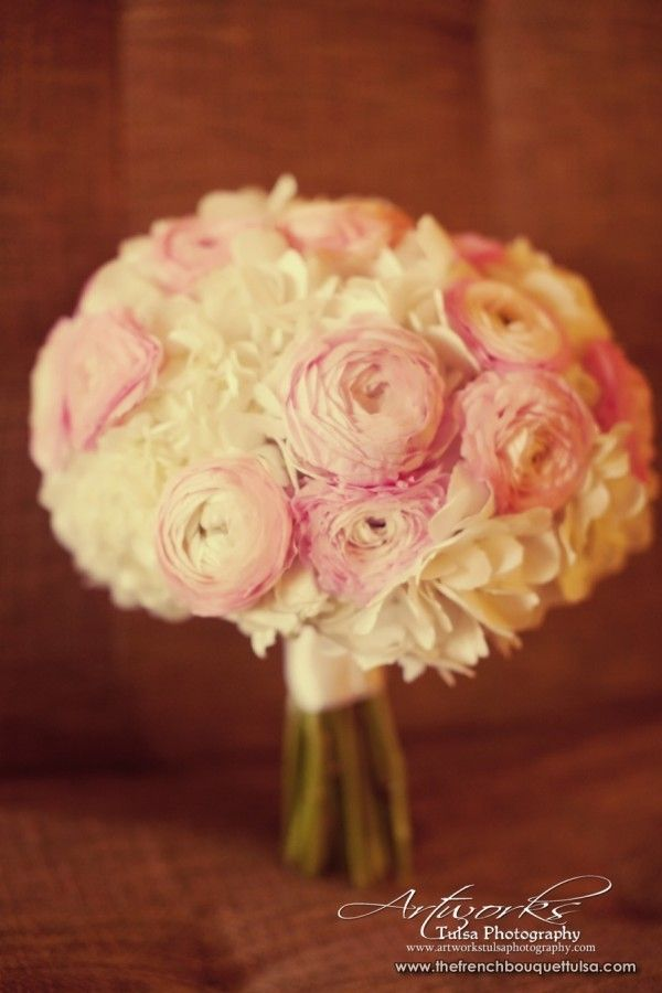 Pink Garden Rose And Hydrangea Bouquet the bridesmaids bouquets will be white hydrangeas and blush pink