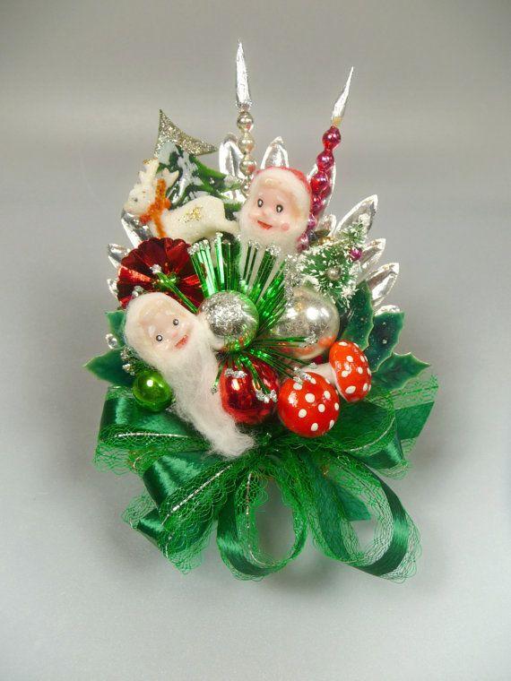 Christmas Corsage Vintage Elves Reindeer Bottlebrush Tree Mercury Glass Red Green Decoration. Meaicp  via Etsy.