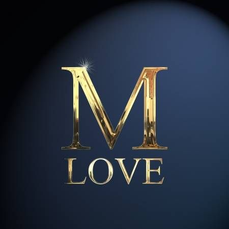 Gold Alphabet Letter M Word Love On A Blue Background Lettering Alphabet Name Wallpaper Photo Letters