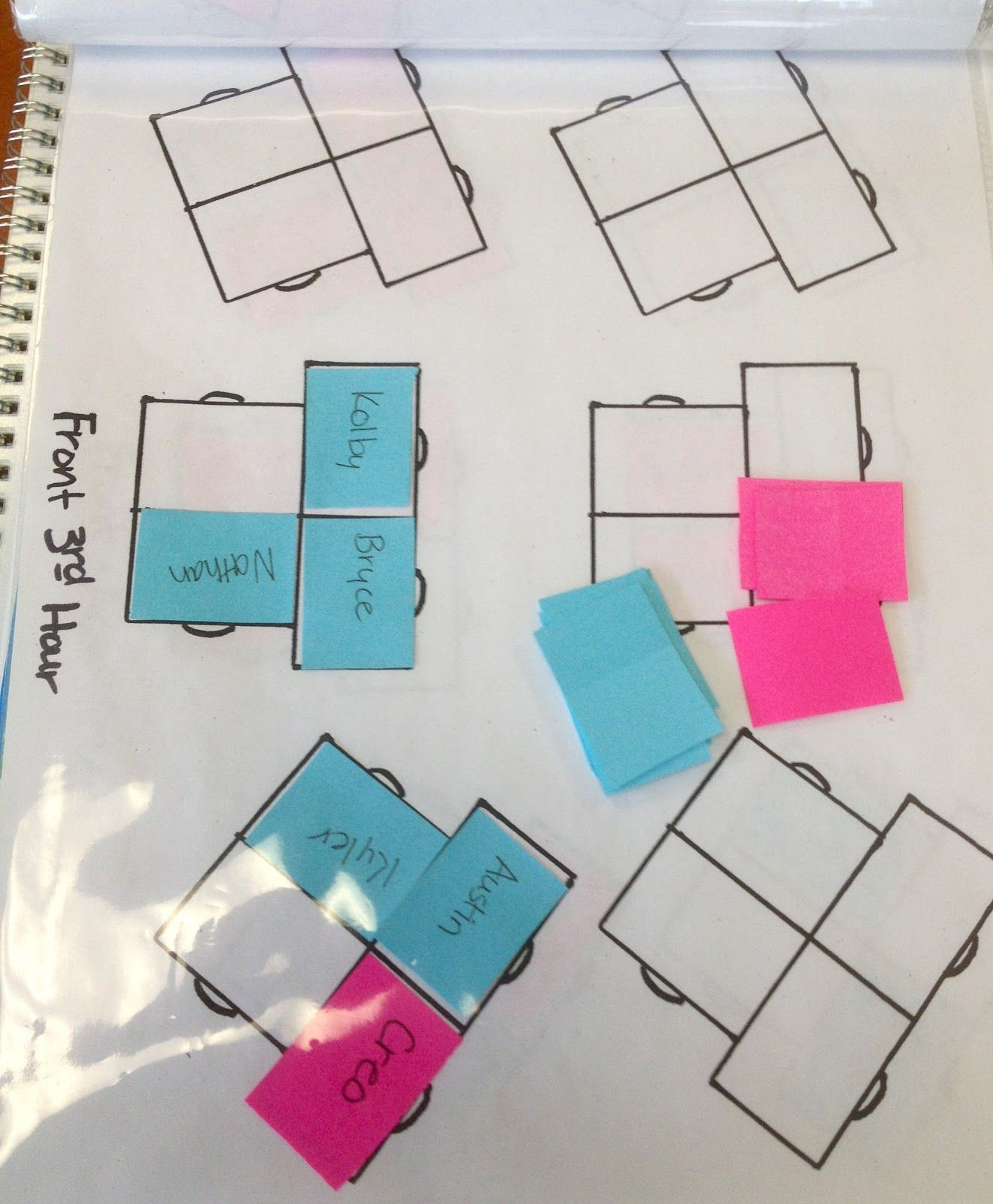 love using sticky notes for my seating chart super easy to move kids around and even class also rh pinterest