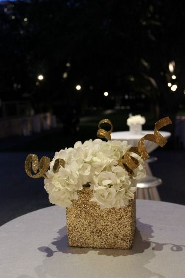 Gliltter Vases, Black and Gold Wedding, Black and gold decor, NYE centerpieces, New Years Eve centerpieces