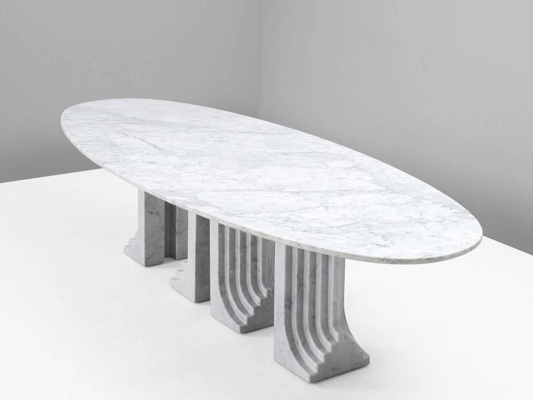 Carlo Scarpa Large Oval Samo Table In Carrara Marble 2 Carlo