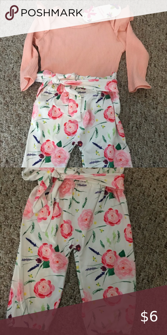 Baby girls 0-3 month pant and shirt never worn Bab