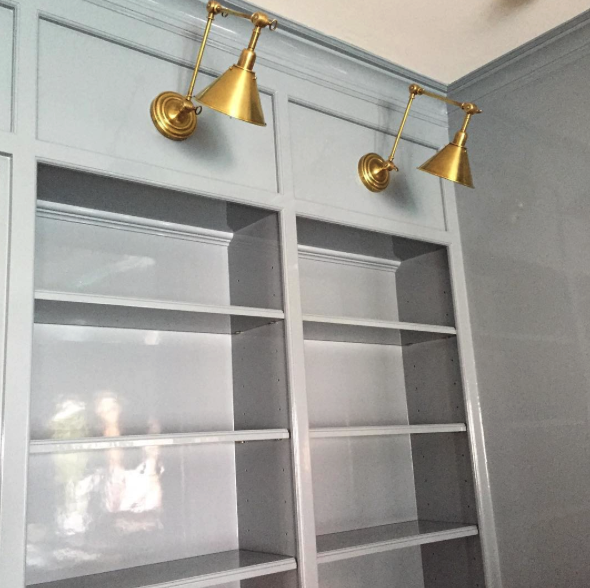 Paint Color: Benjamin Moore Water's Edge With Stunning Brass Lights