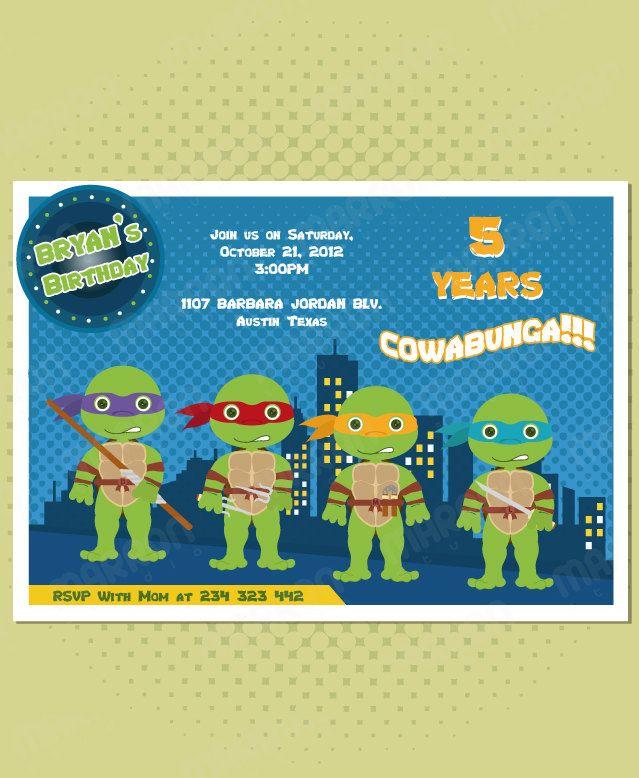 Teenage mutant ninja turtles Inspired Birthday Custom Invitation 5X7 ...