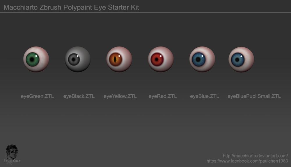 Free download---Macchiarto Zbrush PolyPaint Eye Starter Kit
