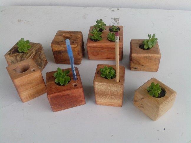 Mini macetas de madera recuperada. Variedad de modelos | regalos ...