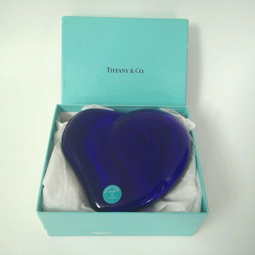 1001066c5d98 TIFFANY & COMPANY Elsa Peretti Cobalt Blue Crystal Heart Paperweight  Include Box #TiffanyCo #MODERN