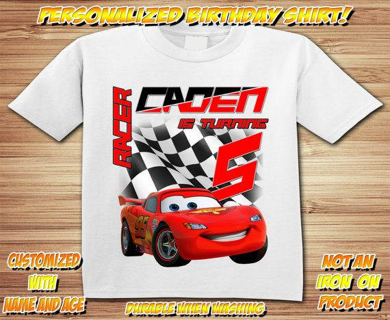 3fbf93539 Personalized Cars Birthday T Shirt - lightning mcqueen, tow mater, radiator  springs, disney, race, sally