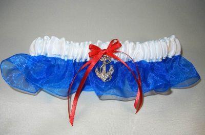 White/Royal Blue Garter w/Anchor