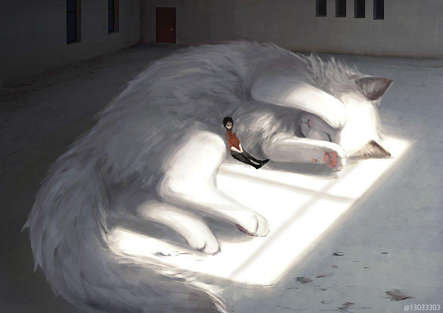 Un ilustrador japonés se inspira en el Studio Ghibli para crear mundos habitados por animales gigantes