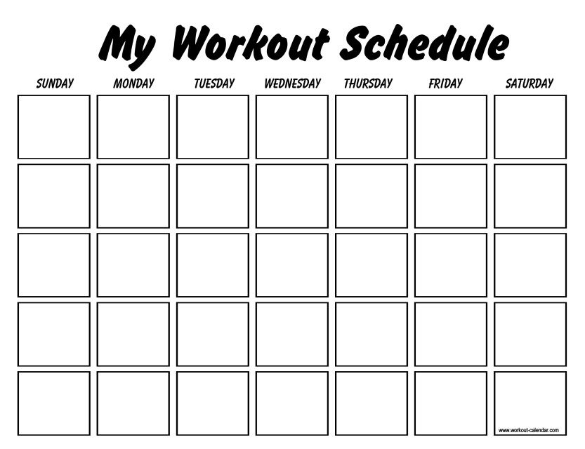 Fitness Calendar Template PDF | 2018 Calendars | Workout