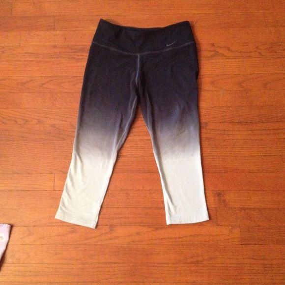 Nike Ombré Dri Fit Yoga Pants These are Nike Ombré Dri fit pants in a small. They are in excellent condition and cost $70 new. They are black, gray, and white at the bottom. I come from a smoke free, pet free home. Nike Pants Track Pants & Joggers