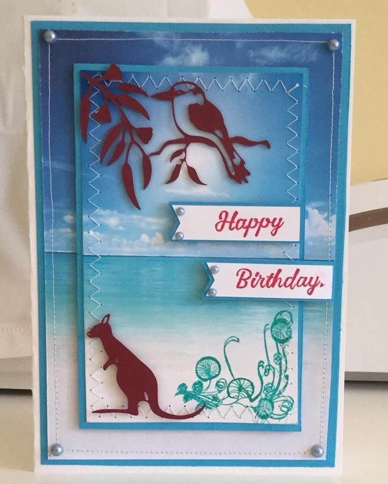 Aussie Birthday Card With Kookaburra And Kangaroo Birthday Cards Cards Making Greeting Cards