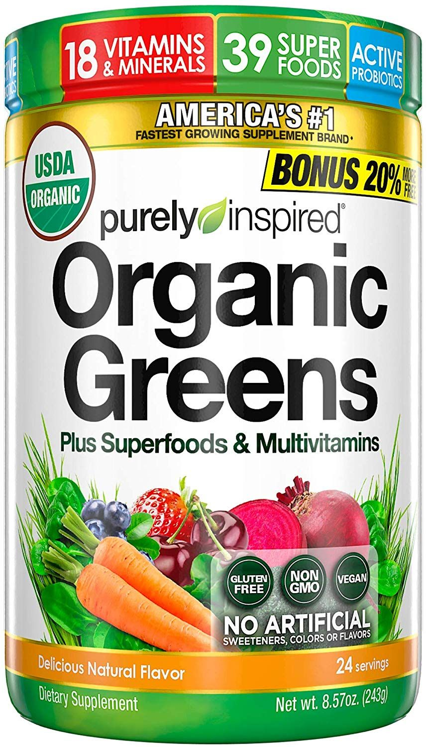 Purely Inspired Organic Super Greens Powder With Superfoods Multivitamins In 2020 Super Greens Powder Organic Greens Powder Super Greens