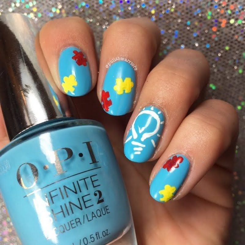 Celebrate the Autism Awareness month with this nail art. Make sure to use the Infinite Shine Polishes from OPI to enjoy a longer lasting manicure that can last up to 10 days without chipping.