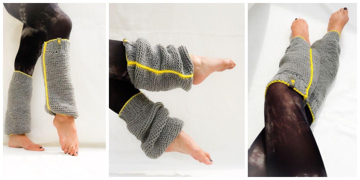 knitted & crochet legwarmers  grey wool / yellow cotton yarn